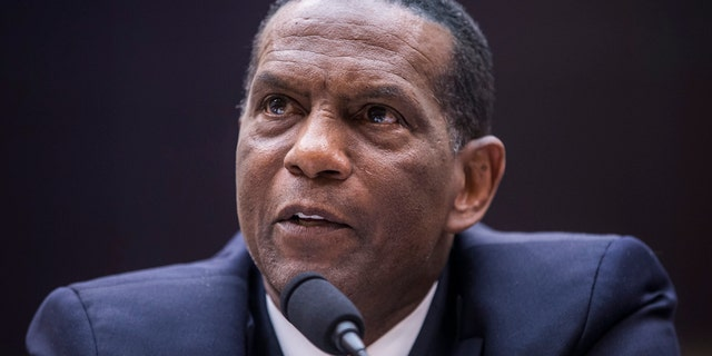 WASHINGTON, DC - JUNE 19: Former NFL player Burgess Owens testifies during a hearing on slavery reparations held by the House Judiciary Subcommittee on the Constitution, Civil Rights and Civil Liberties on June 19, 2019 in Washington, DC. The subcommittee debated the H.R. 40 bill, which proposes a commission be formed to study and develop reparation proposals for African-Americans. (Photo by Zach Gibson/Getty Images)