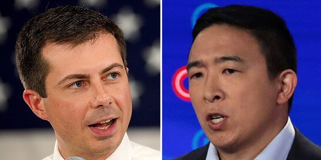 Former Democratic presidential candidates Pete Buttigieg, left, and Andrew Yang weighed in Friday night on the Israel-United Arab Emirates deal brokered by the Trump administration.