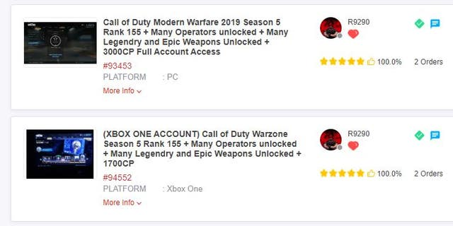A screenshot from an online marketplace where apparently hacked video game accounts are bought and sold. Night Lion Security released a new report suggesting the online economy of hacked video game accounts generates a billion dollars a year.