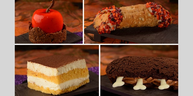 The Poison Candied Apple, Pumpkin Cheesecake Cannoli, Pumpkin Tiramisu and Box of Bones Chocolate Éclair, pictured.