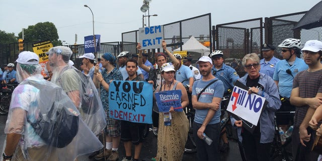 In this 2016 file photo, Bernie Sanders supporters are seen protesting outside the Democrats' convention in Philadelphia. (FNC)