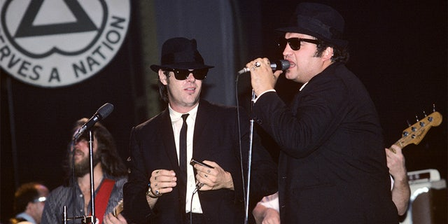 Dan Aykroyd and John Belushi performing with The Blues Brothers at the Palladium in New York City on June 1, 1980.