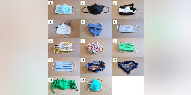 Researchers tested 14 different face masks or mask alternatives.  (Emma Fischer, Duke University)