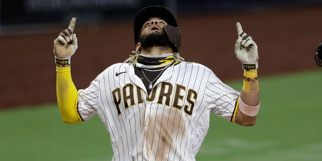 San Diego Padres' Fernando Tatis Jr. reacts after hitting a two-run home run during the fifth inning of a baseball game against the Los Angeles Dodgers Wednesday, Aug. 5, 2020, in San Diego. (Associated Press)
