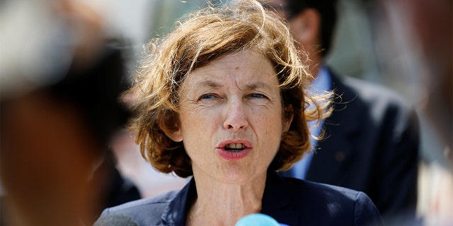 French Defence Minister Florence Parly speaks to journalists as she visits the devastated site of the massive explosion at the port of Beirut, Lebanon, August 14, 2020. REUTERS/Thaier Al-Sudani - RC2NDI9OAVAS