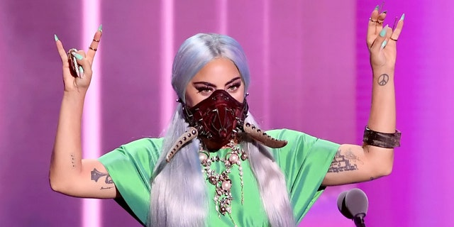 Lady Gaga accepts the song of the year award for 'Rain on Me'