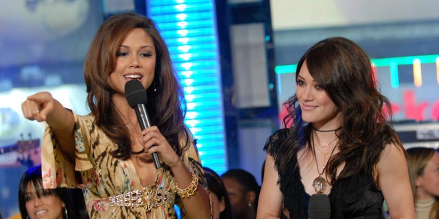 Vanessa Lachey (L) and Hilary Duff (R) during a visit to MTV's 'TRL' studios in New York City back in 2007.