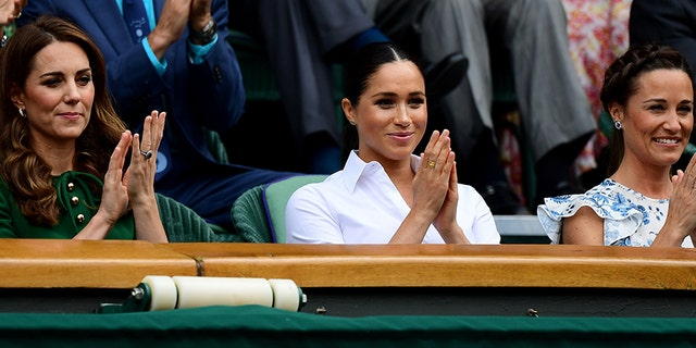 (L-R) Catherine, Duchess of Cambridge, Meghan, Duchess of Sussex and Pippa Middleton attend the Royal Box during Day twelve of The Championships - Wimbledon 2019 at All England Lawn Tennis and Croquet Club on July 13, 2019, in London, England.