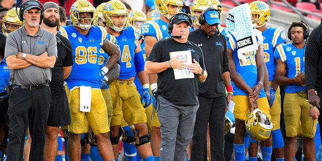 UCLA head coach Chip Kelly looks on during a college football game between the UCLA Bruins and the USC Trojans on November 23, 2019, at Los Angeles Memorial Coliseum in Los Angeles, CA.