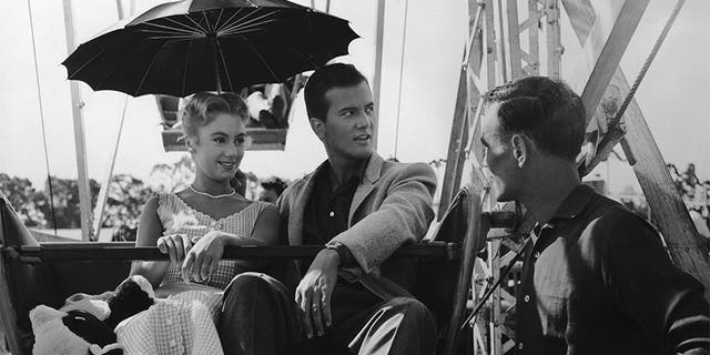 Pat Boone and Shirley Jones on the set of the musical comedy 'April Love.'