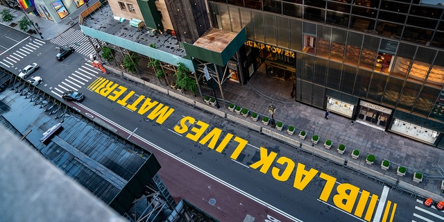 A Black lives Matter mural that was painted on 5th Avenue is seen directly in front of Trump Tower on July 13, 2020 in New York City. (David Dee Delgado/Getty Images)