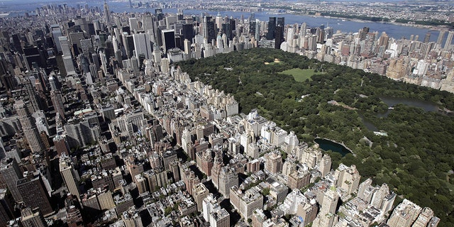 Aerial view over the Upper East Side of Manhattan and Central Park (R) in New York City. (STAN HONDA/AFP via Getty Images)