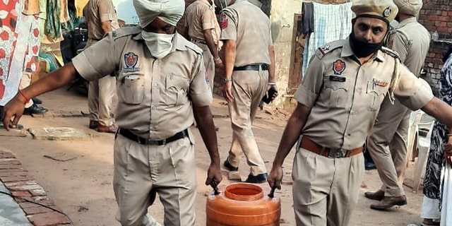 Punjab Police recover illicit liquor lahaan at Baghora village near Ghanour Town, on August 1, 2020 in Patiala, India.