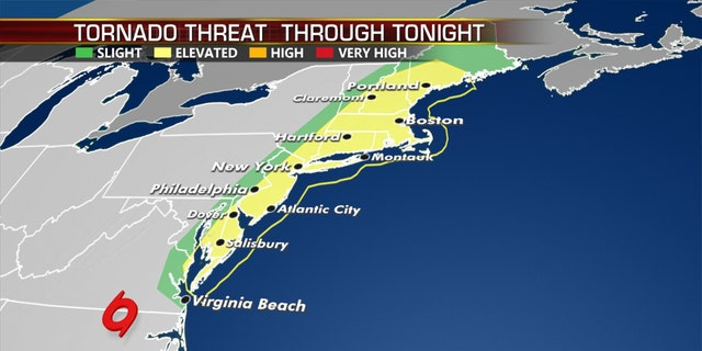 The threat for tornadoes on Tuesday from Tropical Storm Isaias as it moves north.