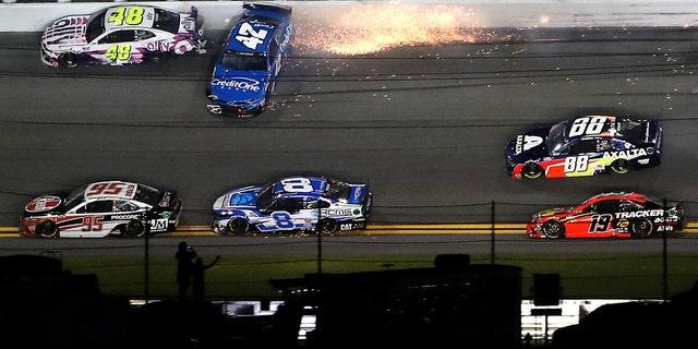 Matt Kenseth's car (42) hit Jimmie Johnson (48) late in the race.