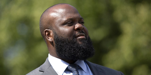 Ja'Ron Smith, White House policy adviser, stands after a television interview in Washington, D.C., on Tuesday, June 16, 2020. (Stefani Reynolds/CNP/Bloomberg via Getty Images)