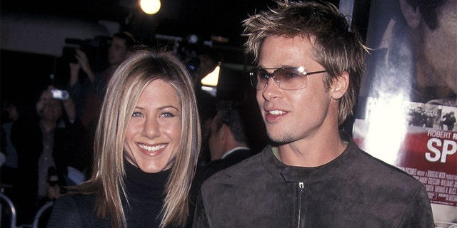 Jennifer Aniston and Brad Pitt were married from 2000-2005. This photograph is from 2001.