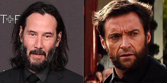 Keanu Reeves (L) and Hugh Jackman as Wolverine (R)