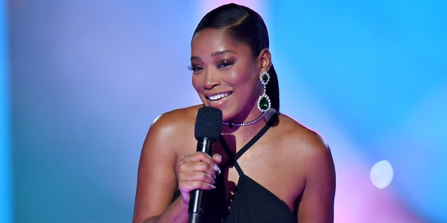 Keke Palmer speaks onstage during the 2020 MTV Video Music Awards at the Skyline Drive-In, broadcast on Sunday, August 30, 2020 in New York City. (Photo by Jeff Kravitz/MTV VMAs 2020/Getty Images for MTV)