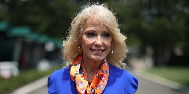 Kellyanne Conway, counselor to President Donald Trump, walks back into the West Wing following an interview with FOX outside the White House July 07, 2020 in Washington, DC.(Photo by Chip Somodevilla/Getty Images)