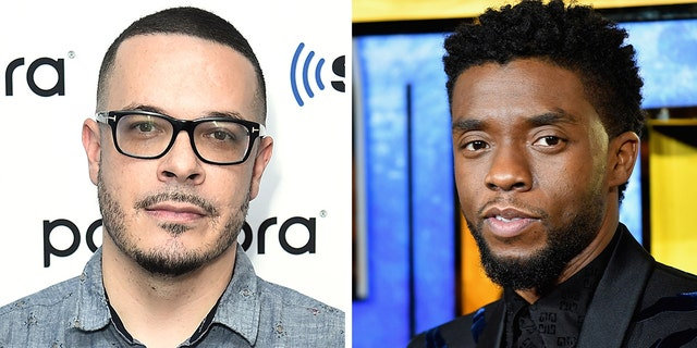 Social justice activist Shaun King, left, was accused on Twitter of using the death of movie star Chadwick Boseman, right, to promote his book, causing a major online backlash. (Getty)