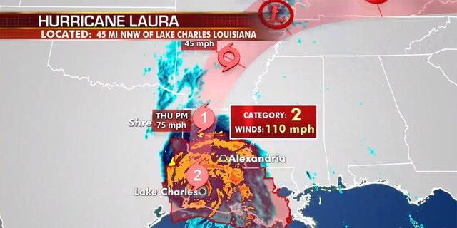 La trayectoria pronosticada del huracán Laura.
