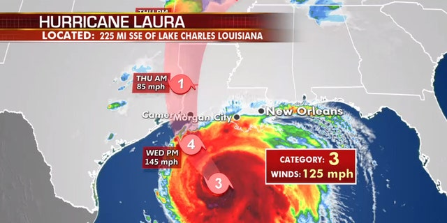 The forecast track of Hurricane Laura.