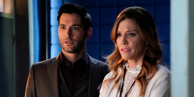 Tom Ellis (left) and Tricia Helfer in 'Lucifer.' (Photo by FOX Image Collection via Getty Images)