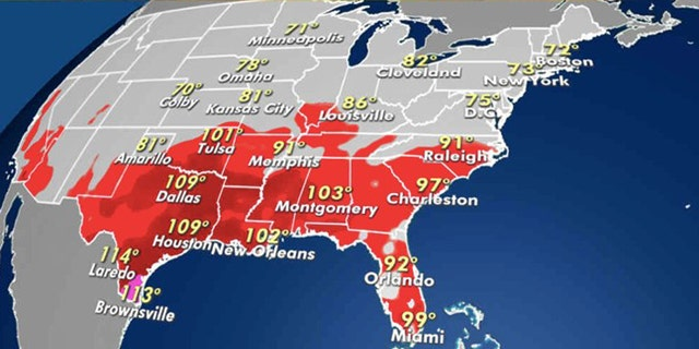 The forecast heat index for Monday, Aug. 31, 2020.