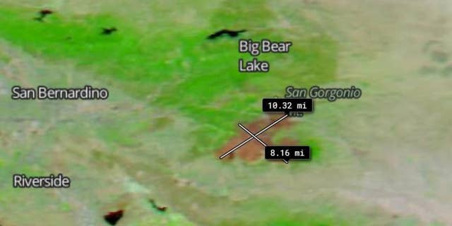 The measurement tool on NASA's Worldview app was used to show the size of the burn scar. Using the tool, the scar was measured to be approximately 10.32 miles long and 8.16 miles wide.