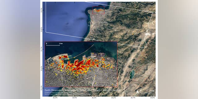 On the map, dark red pixels – like those present at and around the Port of Beirut – represent the most severe damage. Areas in orange are moderately damaged and areas in yellow are likely to have sustained somewhat less damage. Each colored pixel represents an area of 33 yards.