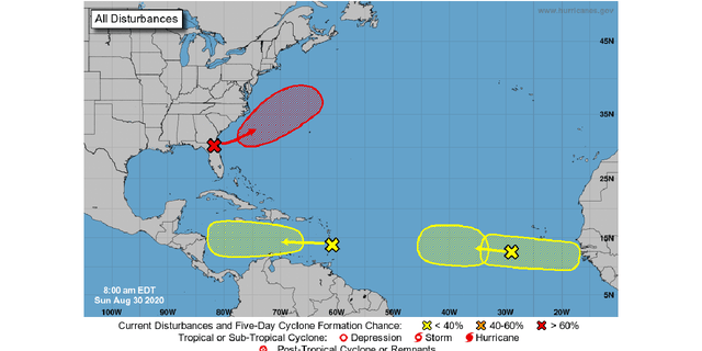 Four areas over the Atlantic are being monitored for possible tropical development, according to the National Hurricane Center (NHC).