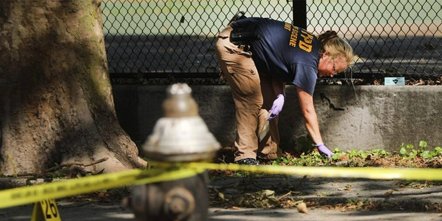 Police work at a crime scene in Brooklyn where a 1-year-old child was shot and killed on July 13 in New York City. The boy was shot near a playground during a Sunday cookout when gunfire erupted. Shootings have increased nationwide with young victims having become unintended targets.