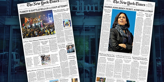 The New York Times didn't cover Kamala Harris and Mike Pence equally when they were selected as presidential running mates.