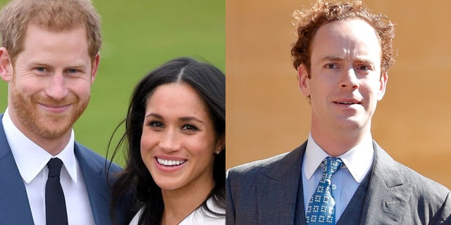 Prince Harry (left) was reportedly warned by longtime friend Tom Inskip (right) to slow down his relationship with Meghan Markle (center).