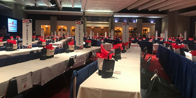 The Richardson Room in the Charlotte Convention Center where RNC delegates are gathering in a socially distanced manner for the roll-call vote to renominate President Trump and Vice President Pence. (Lillian LeCroy/Fox News)