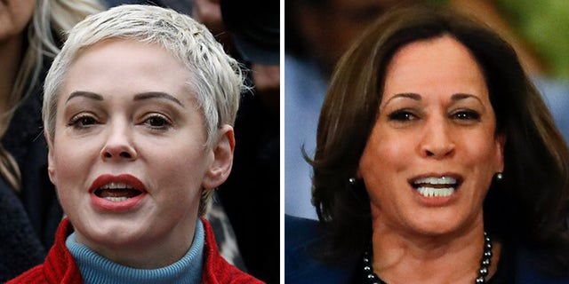 Actress Rose McGowan (left) slammed Sen. Kamala Harris (right) for accepting a donation from Harvey Weinstein during a previous campaign.
