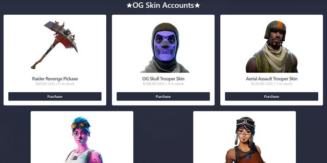 Screenshot from an online marketplace where apparently hacked Fortnite accounts are bought and sold. A report by Night Lion Security suggests these sales contribute to what is a billion-dollar-a-year economy online. (Night Lion Security)