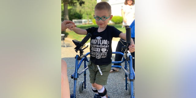 Lucas Spina, 5, suffered a stroke upon birth at 28 weeks and has undergone many surgeries, with more to come. Amid the pandemic, the child is struggling to walk without proper therapy. (Photo courtesy of Danielle Spina, Jamie Scalise)