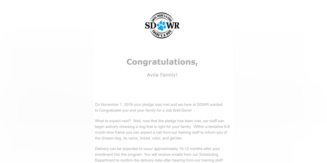 SDWR congratulations email (Credit: Vanessa Valdez Avila)