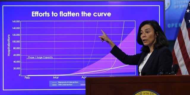 Dr. Sonia Angell during a presser at the Governor's Office of Emergency Services in Rancho Cordova, Calif., April 14, 2020. (AP Photo/Rich Pedroncelli, Pool)