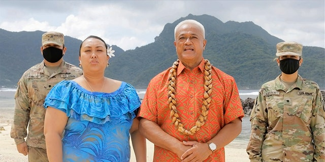 In this image from video, Aliitama Sotoa and Petti Matila of American Samoa speak during the state roll call vote on second night of the Democratic National Convention on Tuesday, Aug. 18, 2020. (Democratic National Convention via AP)