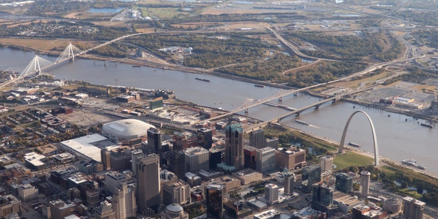 File photo - This aerial view shows the Gateway Arch near the Mississippi River in St Louis, Missouri, on October 23, 2019.