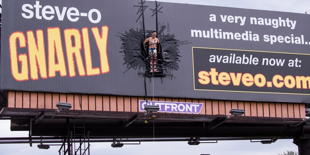 Steve-O Is Currently Duct-Taped to a Billboard in Los Angeles