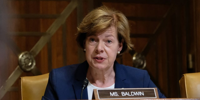 Sen. Tammy Baldwin (D-WI), speaks at a Senate hearing on April 11, 2019 in Washington, DC. The hearing focused on the 2020 funding request and budget justification for the Agriculture Department.