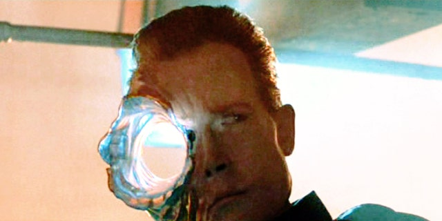 "The movie ""Terminator 2: Judgment Day"", directed by James Cameron. Seen here, the T-1000 Terminator, in partial liquid metal form, suffers from a gunshot blast to the head."