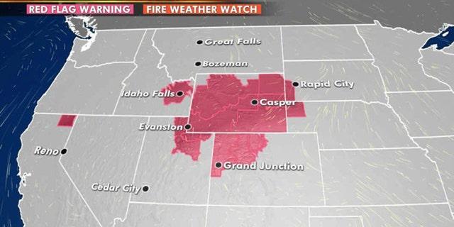 The greatest risk for wildfire danger on Thursday, Aug. 13, 2020.