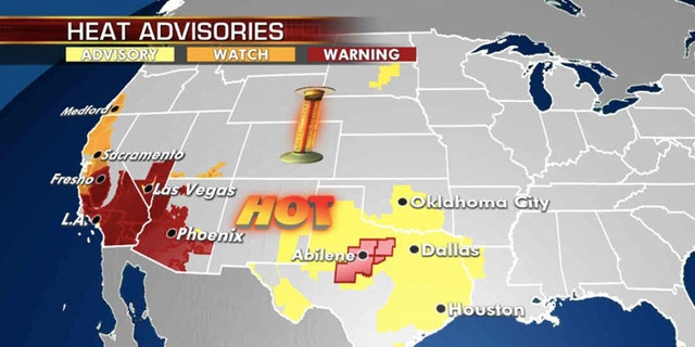 Excessive heat warnings, watches and advisories strech across the Plains into the Southwest.