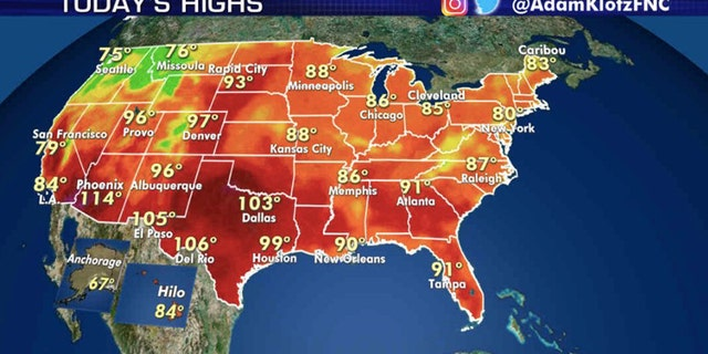 Forecast high temperatures for Aug. 13, 2020.