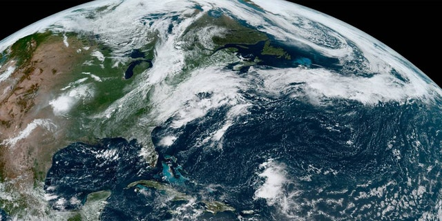 Josephine can be seen swirling north of the Leeward Islands, and Kyle moves into the Atlantic.